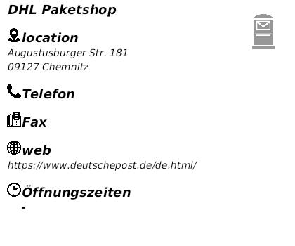 Dhl Shop Chemnitz : dhl paketshop in 09127 chemnitz sonnenberg augustusburger ~ A.2002-acura-tl-radio.info Haus und Dekorationen