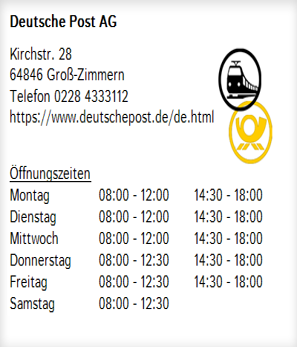 Deutsche Post Ag In Groß Zimmern Ortsmitte öffnungszeiten